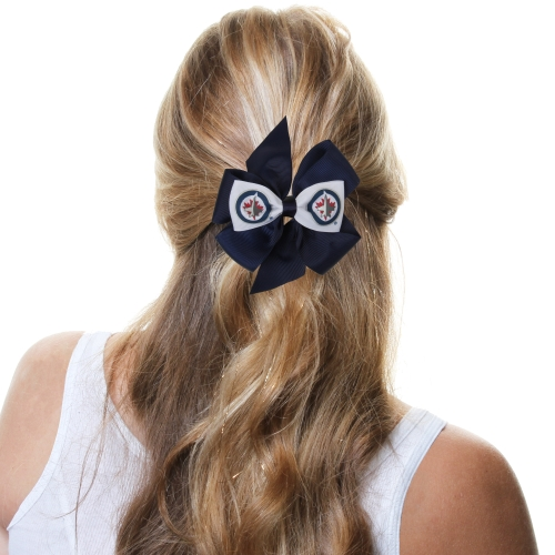 Winnipeg Jets Fan Bow - Navy Blue/White - No Size