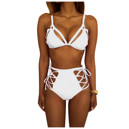 3b5e99b5cf 2019 Women Strappy Bikini Set Two Piece Swimwear Lace Up High Waist Bottom  Swimsuits Caroj ...