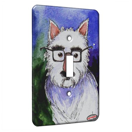 KuzmarK™ Single Gang Toggle Switch Wall Plate - Westie Incognito West Highland White Terrier Dog Art by Denise Every