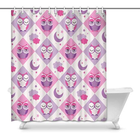 POP Pink Owl Birds and Moon Shower Curtain 60x72 inch - image 1 de 1