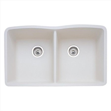 Diamond Equal Double Bowl Silgranit II Undermount Kitchen Sink - Biscuit (Silgranit Biscuit Double Bowl)