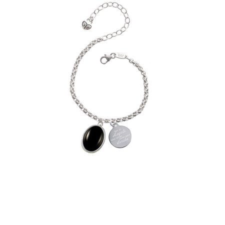 Silvertone Small Black Acrylic Oval Not All Angels Have Wings Some Wear Scrubs Engraved - Small Black Angel Wings