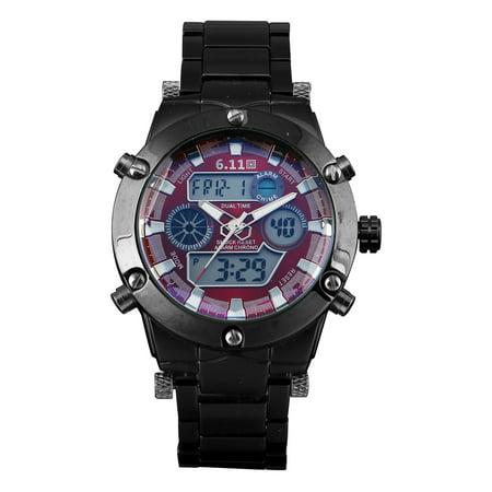Mens Quartz Wrist Watch Stainless Steel Case Black Red Dial Led Luminous