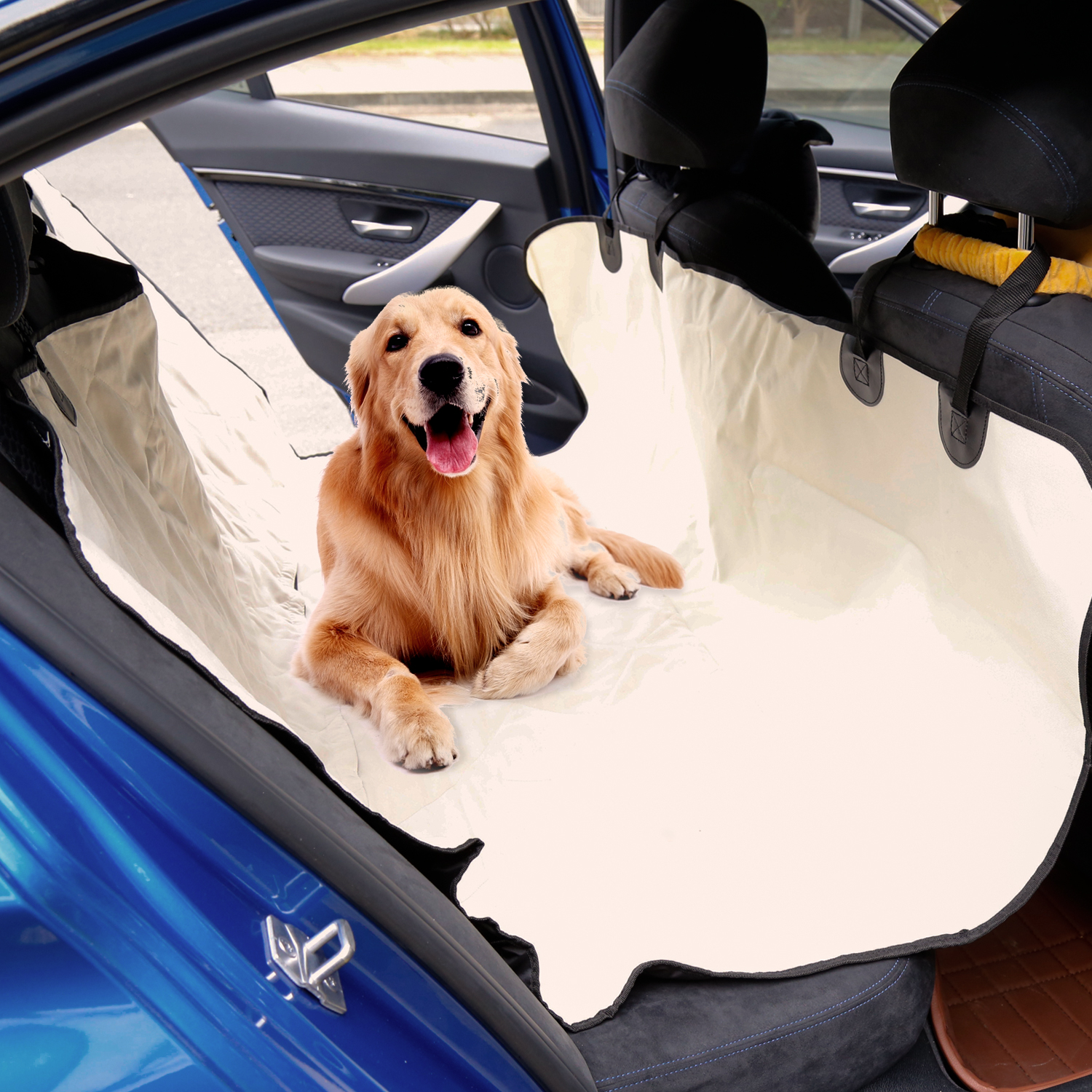 Kinbor Back Pet Car Seat Cover for Dog Cat Protect Car Bench Washable Non-Slip Beige