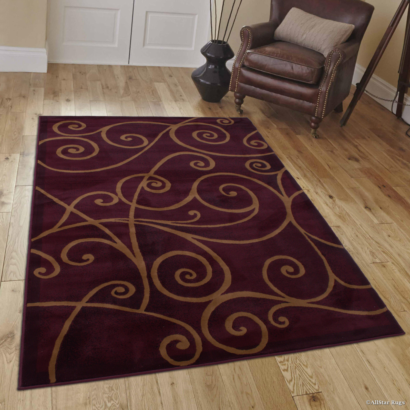 "Allstar Burgundy Abstract Modern Area Carpet Rug (5' 2"" x 7' 2"") by"