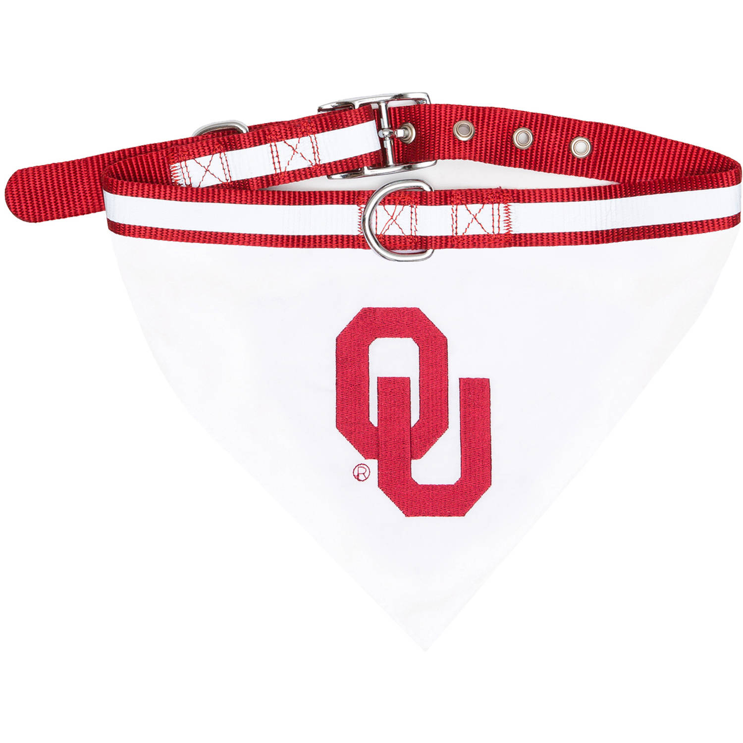 Pets First College Oklahoma Sooners Pet Bandana, 3 Sizes Available. With Collar