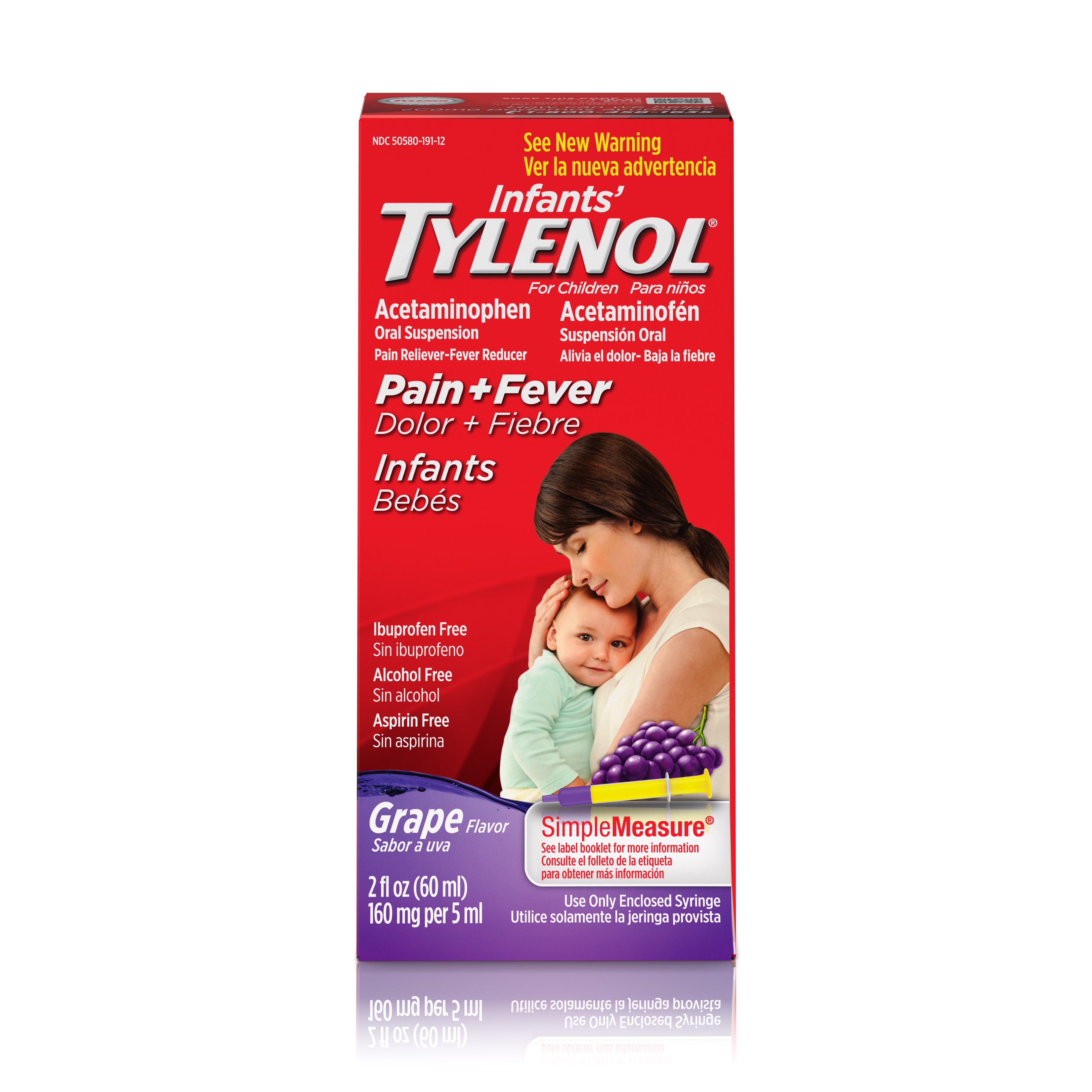 Infants' Tylenol Oral Suspension, Fever Reducer and Pain Reliever, Grape, 2 fl oz