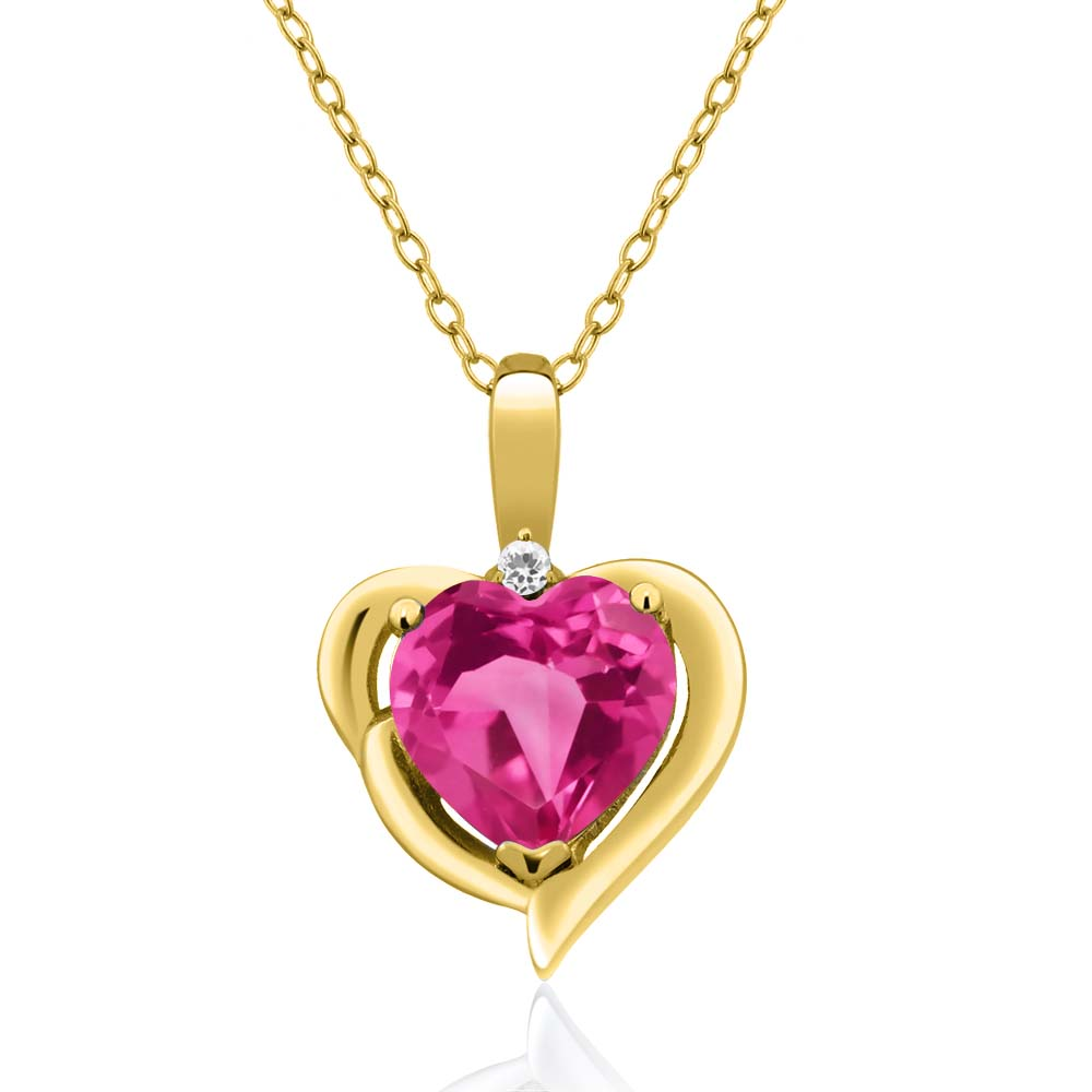 2.01 Ct Heart Shape Pink Mystic Topaz White Sapphire 18K Yellow Gold Pendant by
