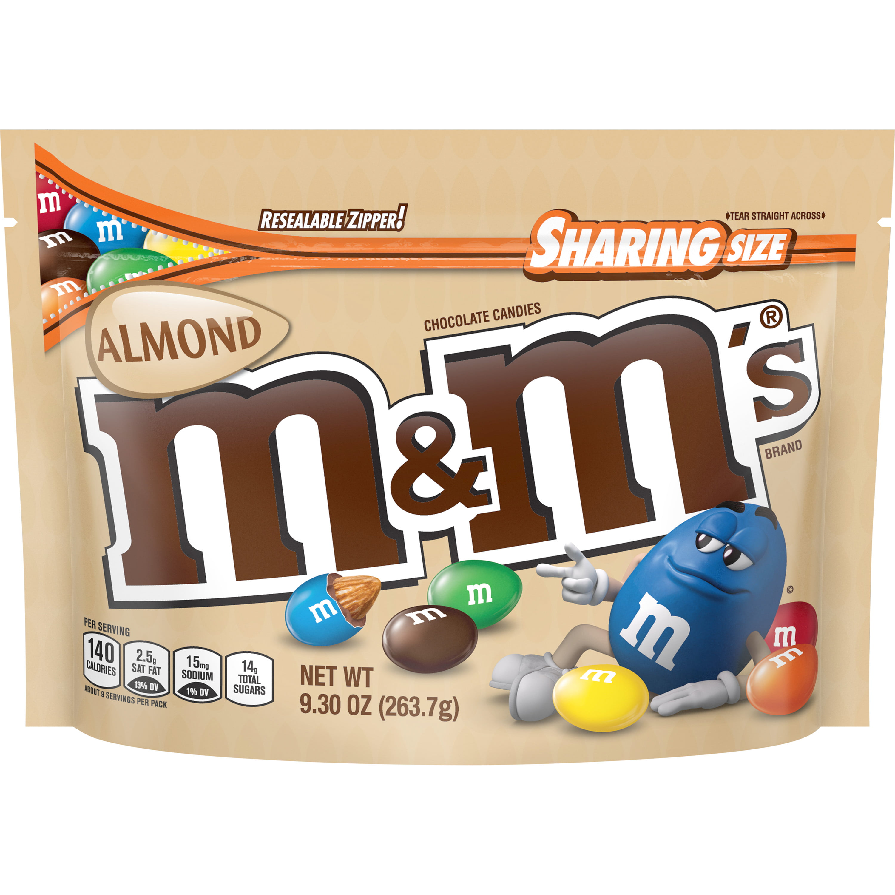 M&M'S Almond Chocolate Candy Sharing Size 9.3-Ounce Bag