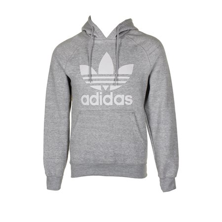Adidas Men's Trefoil Logo Graphic Pouch Pocket Pullover Hoodie Grey L