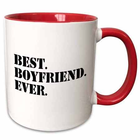 3dRose Best Boyfriend Ever - fun romantic love and dating gifts for him - for anniversary or Valentines day - Two Tone Red Mug,