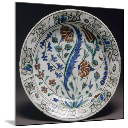 Turkish Pottery (Plate with Floral Designs, Iznik Pottery, Turkey, Turkish-Anatolian Civilization, 16th Century Wood Mounted Print Wall Art)