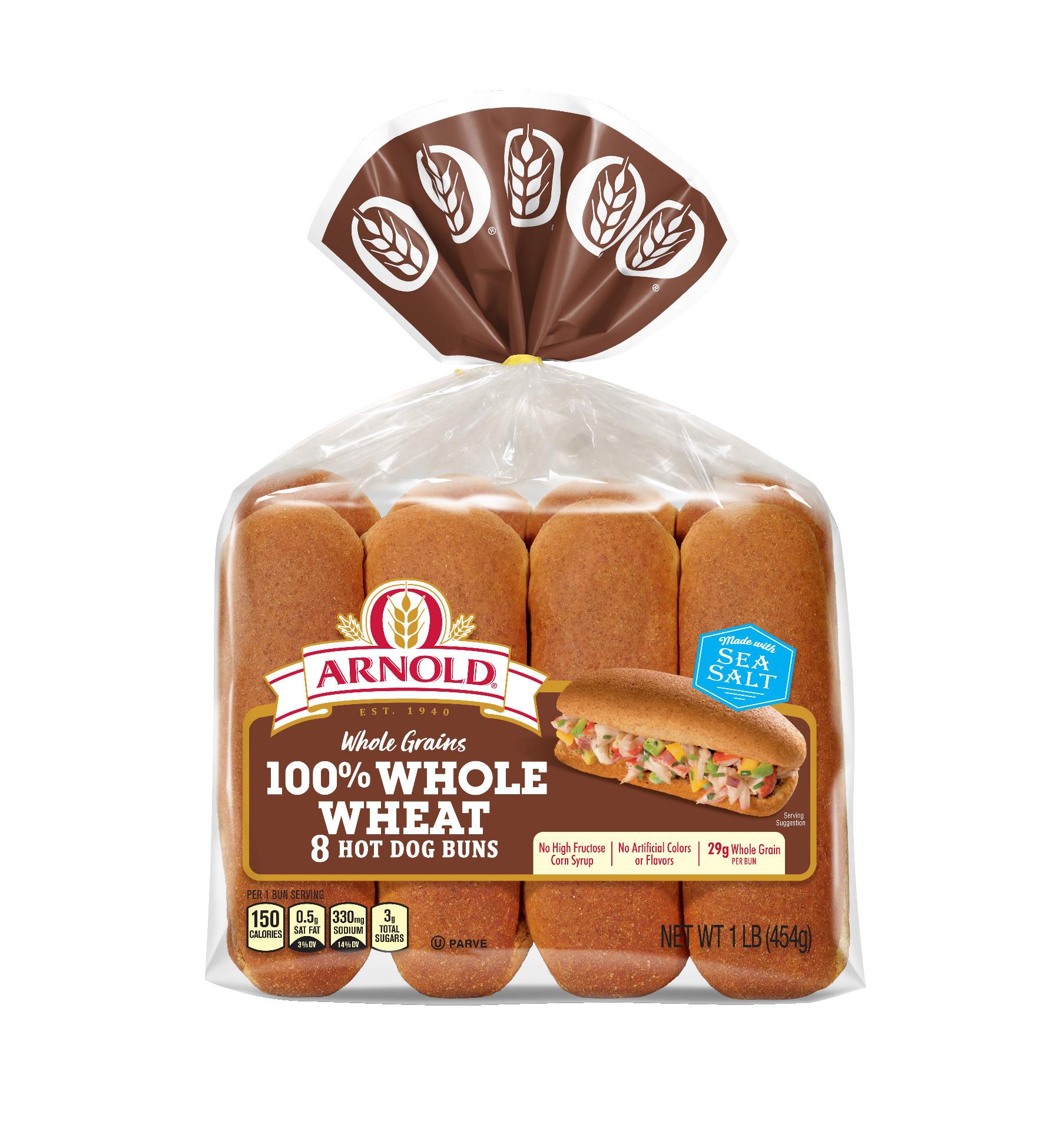 Arnold Whole Grain 100% Whole Wheat Hot Dog Buns, 8 Buns, 16 oz