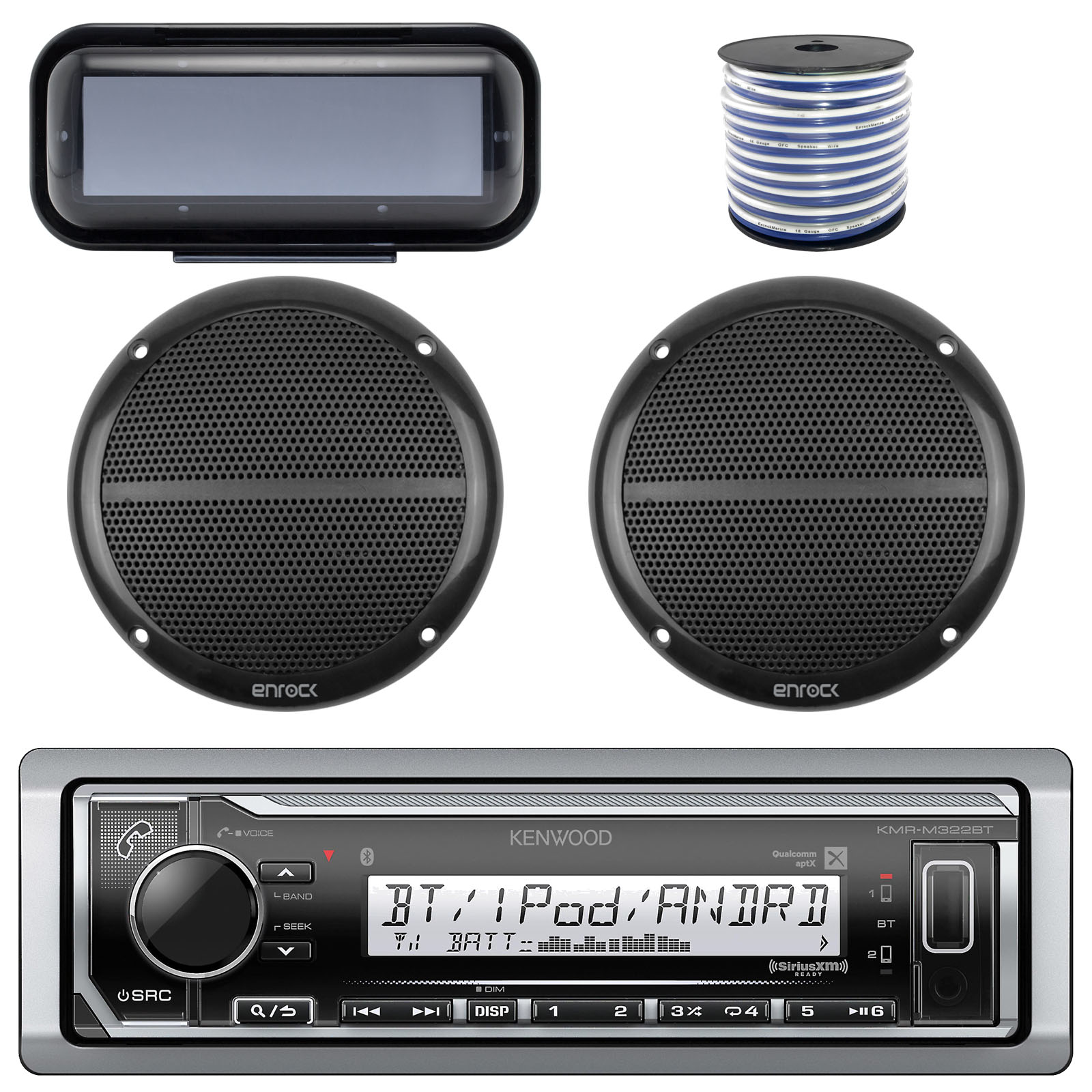 "Kenwood Marine Digital Media Bluetooth Receiver, 2x Millenia 6.5"" Outdoor Silver Speaker (Single), Enrock Marine Single Din Radio Dash Protector (Black), Marine 50 FT 16-G Tinned Speaker Wire"