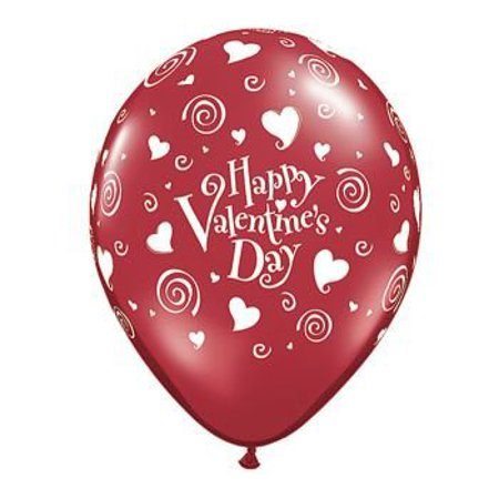 Happy Valentine's Day Hearts and Swirls Balloons 11in Premium Red with All-Over print white Happy Valentine's Day Hearts and Swirls - Valentines Ballons