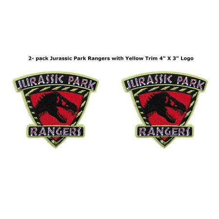Jurassic Park Movie Ranger Shield (2-Pack) Embroidered Iron/Sew-on Applique Patches, Super Heroes, Cartoon, Christmas, Birthday, Halloween, Anime, Marvel.., By Blue Heron From USA