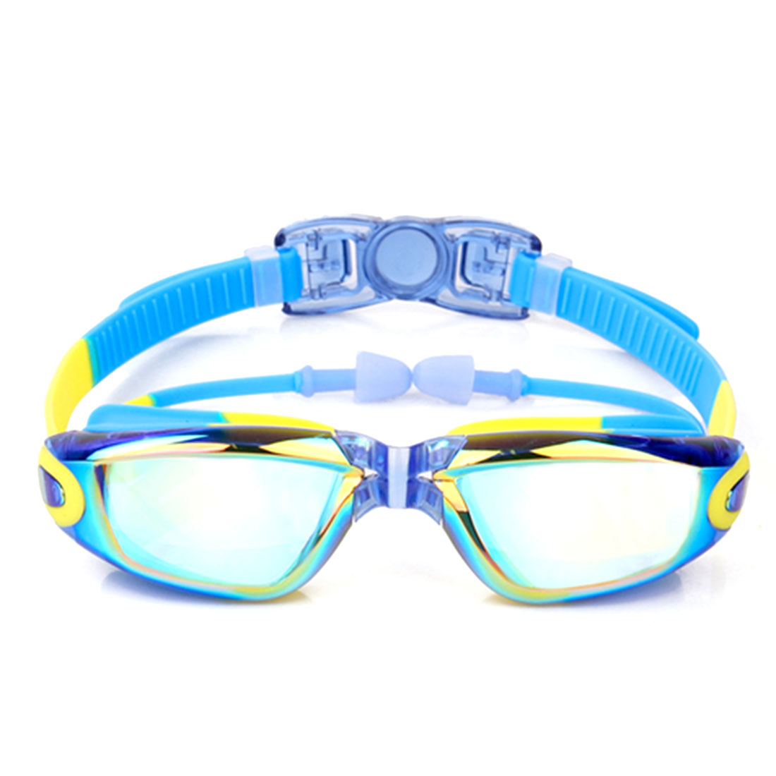 Waterproof Antifog Children Swimming Goggles for Kids Colorful Blue + Yellow Flat Lens by