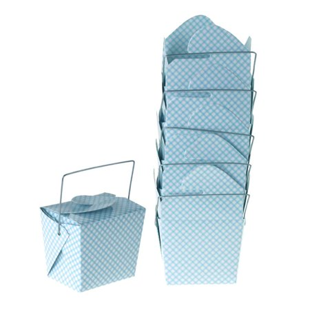 Checkered Take Out Boxes with Wire Handle, Blue, 2-1/2-Inch,