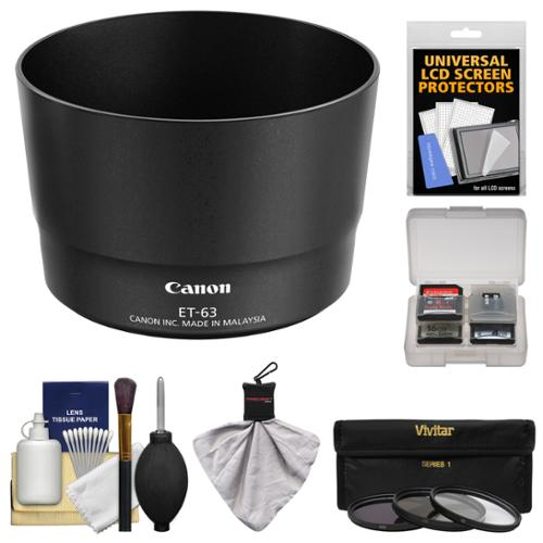 Canon ET-63 Lens Hood for EF-S 55-250mm f/4.0-5.6 IS STM with 3 UV/CPL/ND8 Filters + Accessory Kit