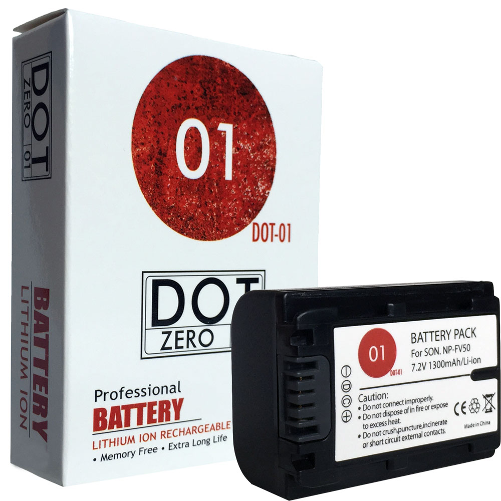 DOT-01 Brand 1300 mAh Replacement Sony NP-FV50 Battery for Sony HDR-CX580V  Camcorder and Sony FV50