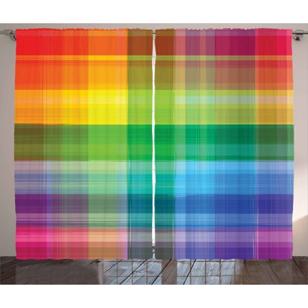 Image result for multicolor plaid curtains