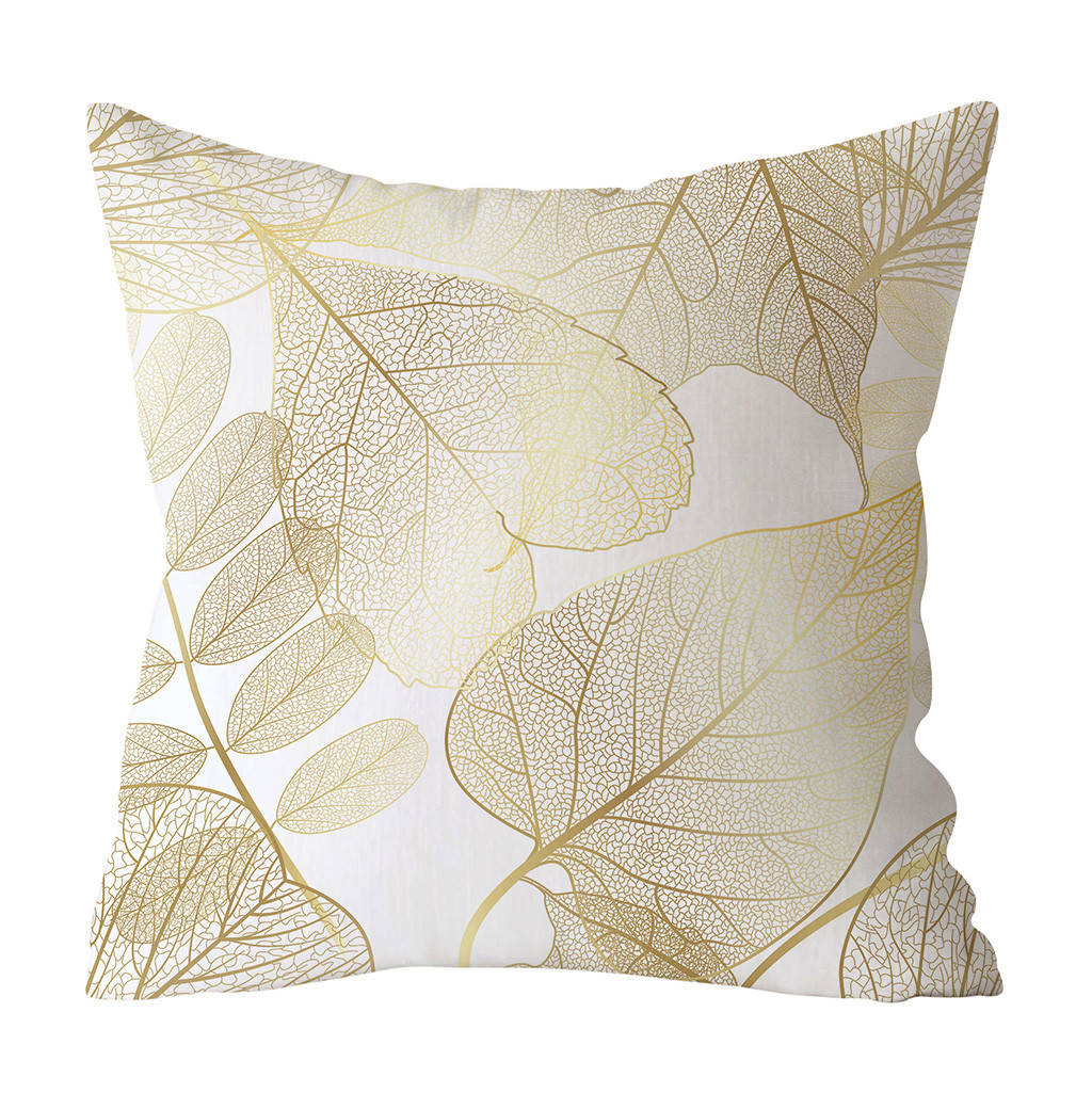 Gold Plant Printed Polyester Pillow Case Cover Sofa Cushion Cover Home Decor