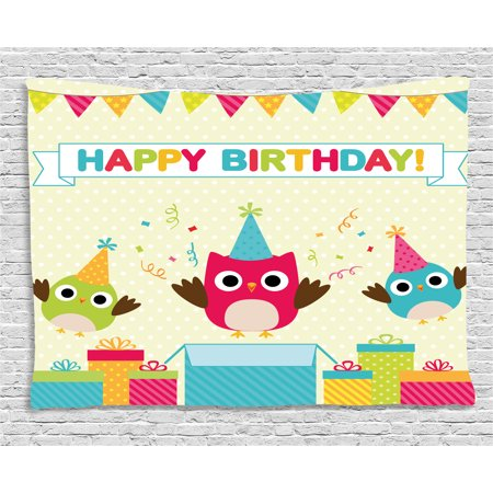 - Birthday Decorations for Kids Tapestry, Happy Chubby Baby Owls Flags Box on Polka Dots Backdrop Image, Wall Hanging for Bedroom Living Room Dorm Decor, 60W X 40L Inches, Multicolor, by Ambesonne