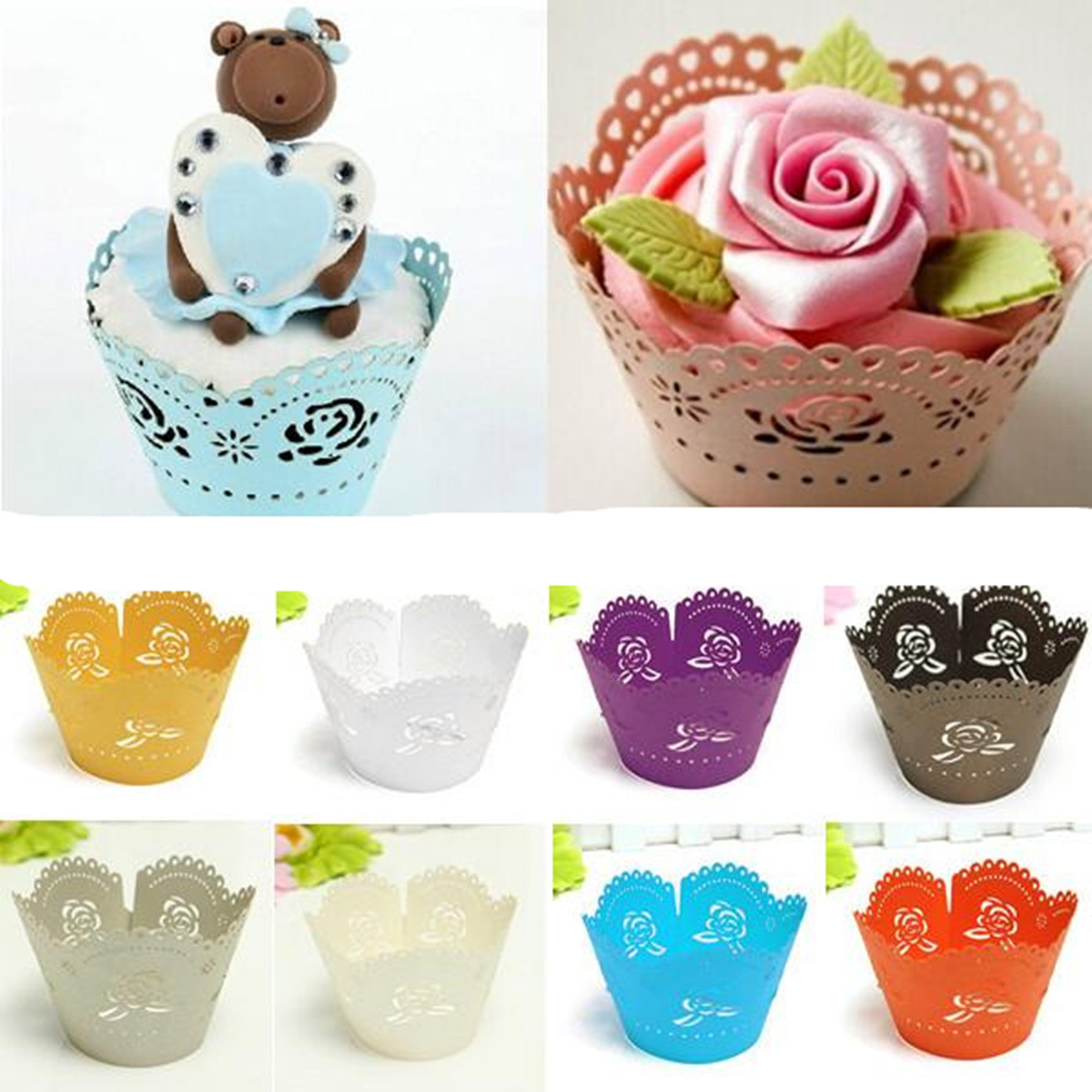 12 pcs Colorful Flower Muffin Cupcake DIY Wrapper Wrap Liners Cases Wedding Birthday Baby Shower Accessories