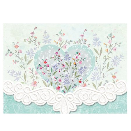 Carol Wilson Floral Heart 10 ct Embossed Note Card Set For Arts Sake, 10 embossed blank cards with matching envelopes By Carol Wilson Fine Arts Inc Carol Wilson Fine Arts