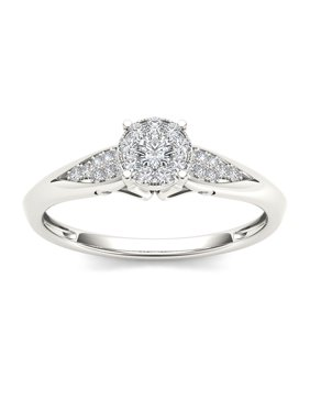1/6Ct TDW Diamond 10K Gold Cluster Ring Engagement Ring