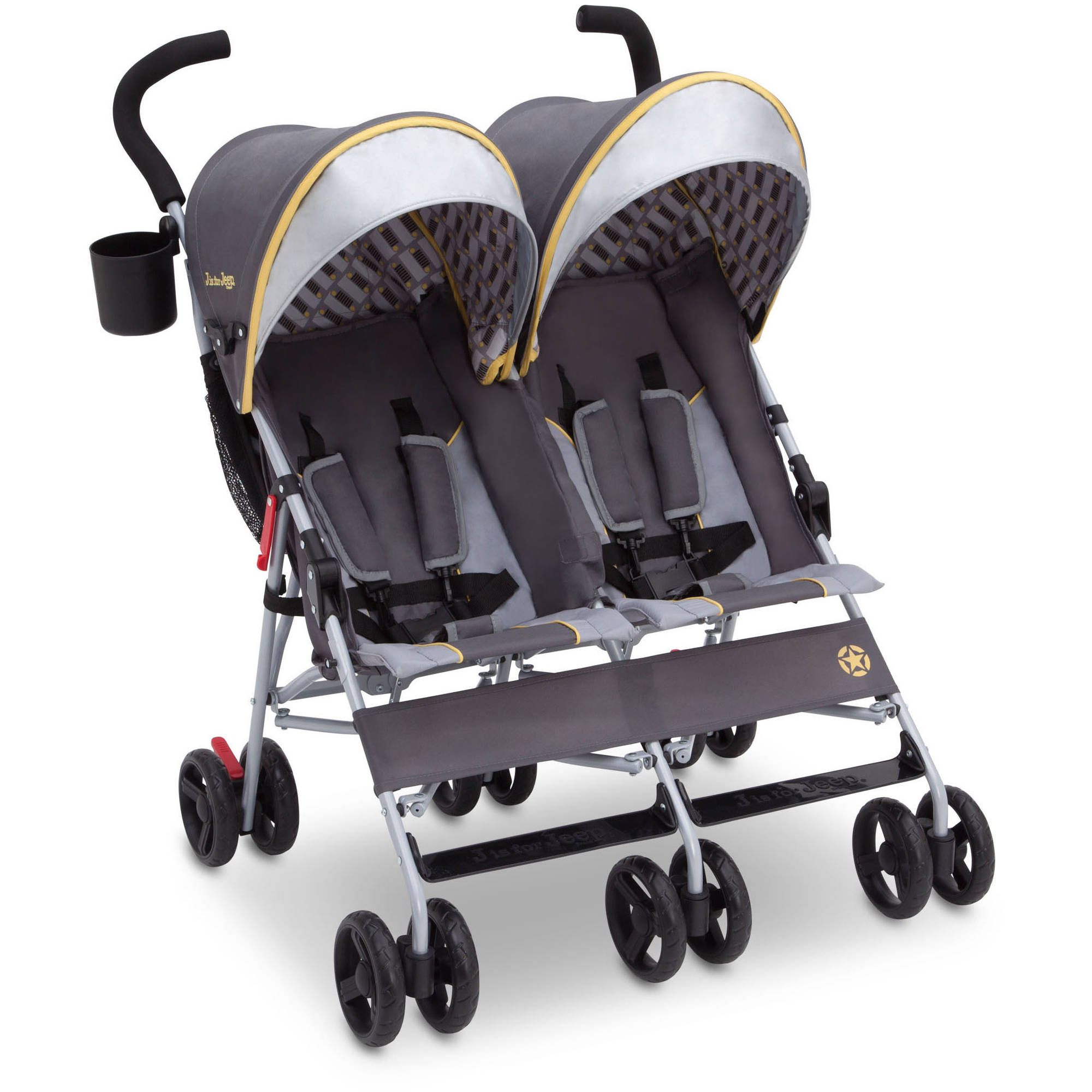 Delta Children J is for Jeep Brand Scout Infant Canopy Double Stroller, Spot On