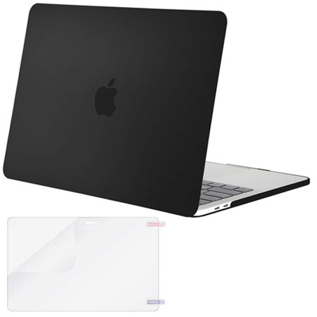 Mosiso MacBook Pro 13 Case 2018 & 2017 & 2016 A1989/A1706/A1708, Plastic Hard Case Shell Cover with Screen Protector for Newest Macbook Pro 13 Inch with/without Touch Bar and Touch ID, Black
