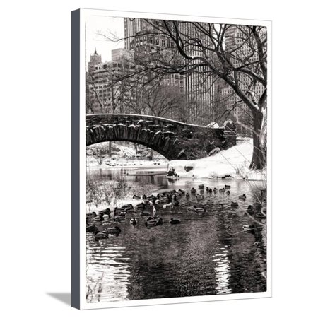 The Gapstow Bridge of Central Park in Winter, Manhattan in New York City Stretched Canvas Print Wall Art By Philippe Hugonnard - Halloween City Winter Park