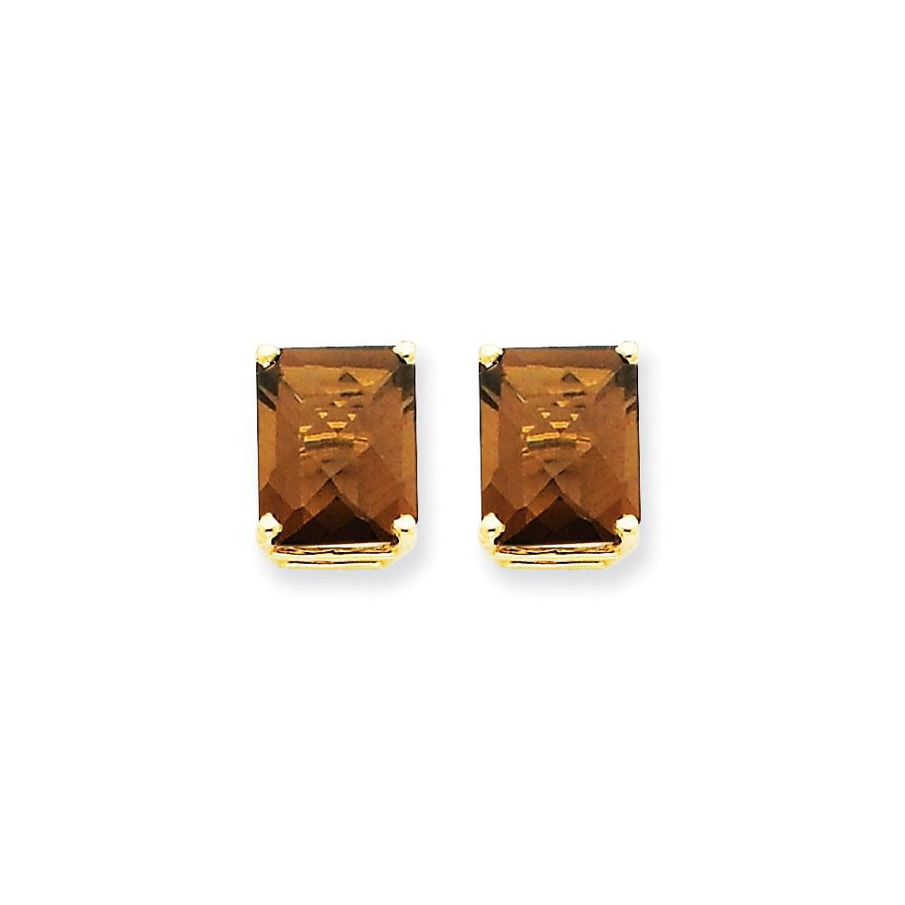 14k Yellow Gold 10x8 Emerald Smokey Quartz Earrings. Gem Wt- 5.8ct (0.4IN x 0.3IN )