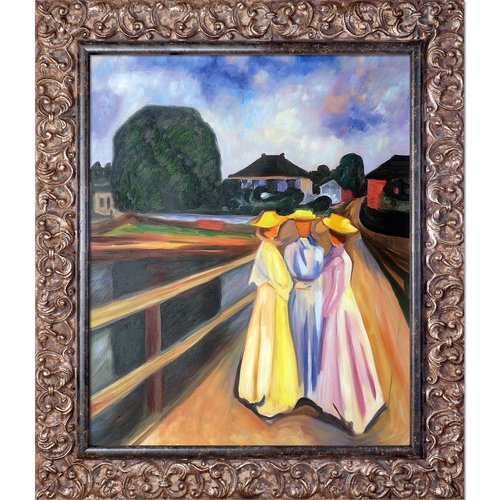 Tori Home Three Girls on the Jetty 1903 by Edvard Munch Framed Oil Reproduction