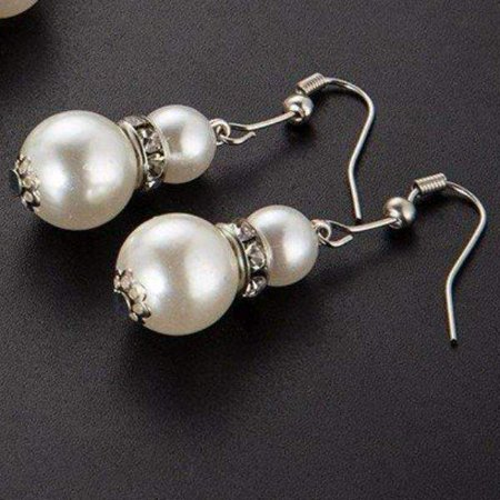 ON SALE - Ivory Pearl Bead and Crystal Accent Earrings Ivory Earrings