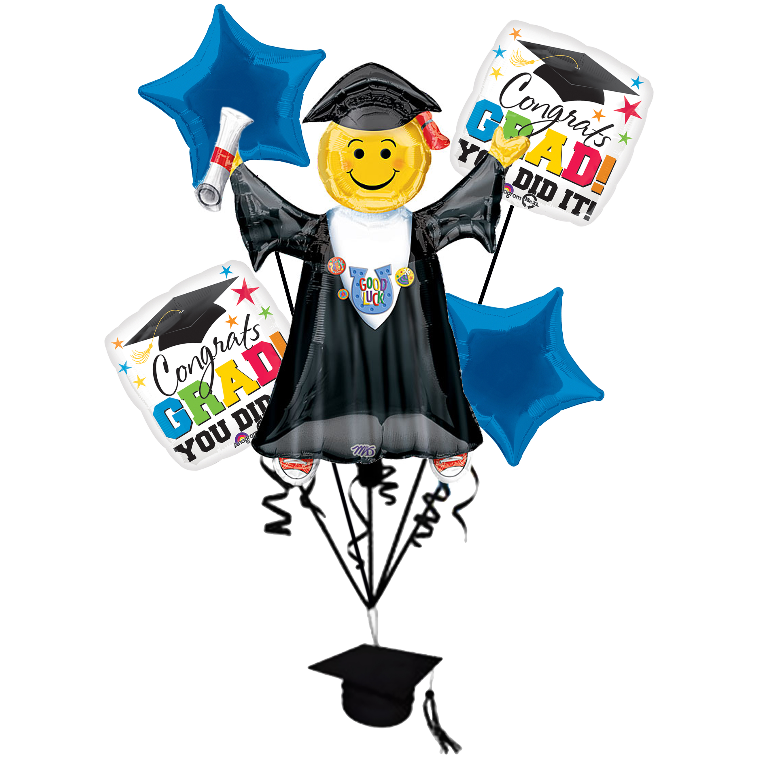Anagram Congrats Grad Jumping Smiley Emoticon Bouquet 7pc Balloon Pack