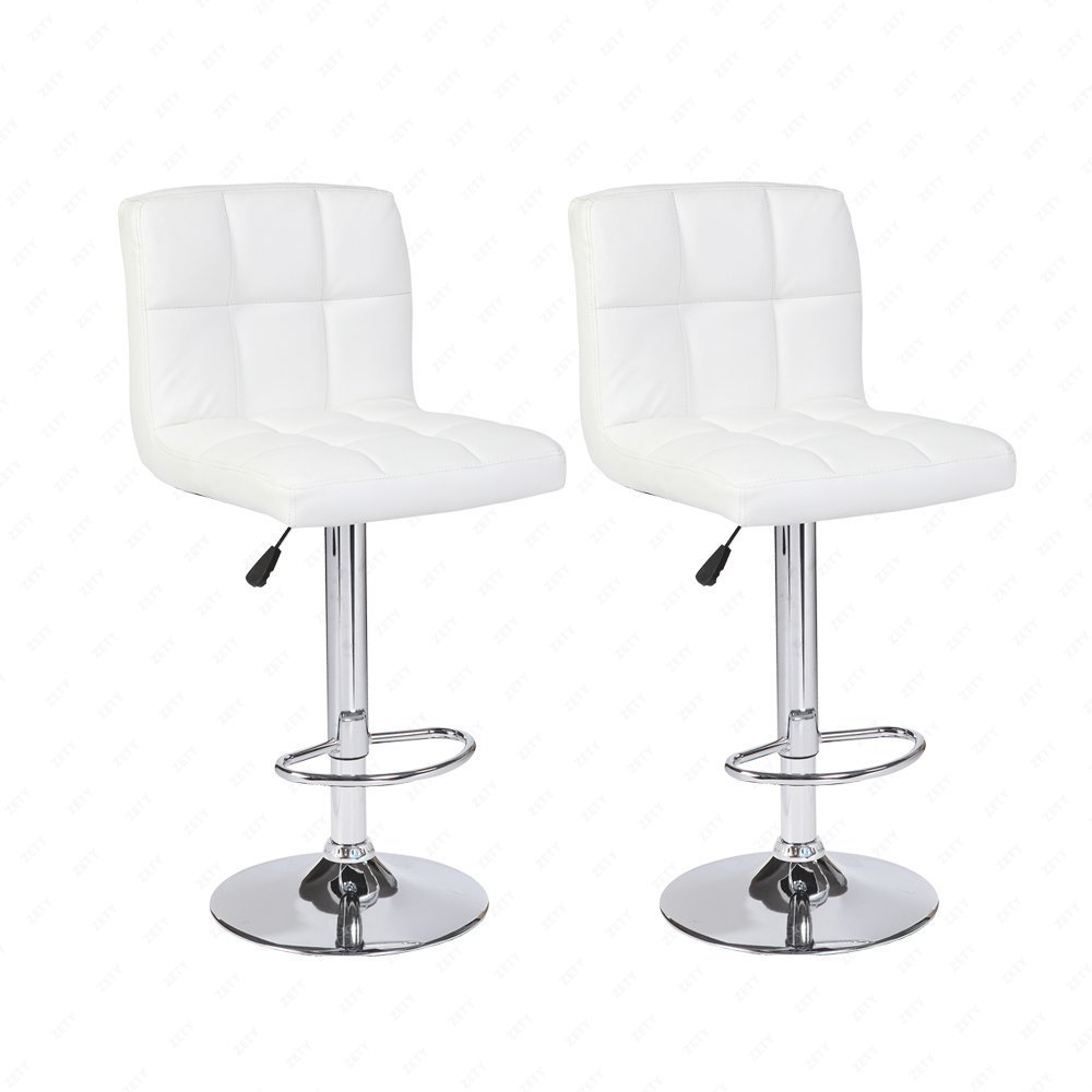 2PCS White Mordern Leather Adjustable Bar Stools Swivel Pub Chair by Uenjoy