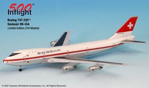 Swissair HB-IGA 747-200 Airplane Miniature Model Metal Die-Cast 1:500 Part# A015-IF5742009 by