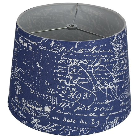 Urbanest French Drump Lamp Shade, Linen, Blue, White Script, 12
