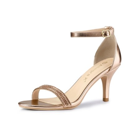 Women's Stiletto Heels Rhinestone Ankle Strap Sandals Rose Gold (Size 9) - Highest Stiletto Heels