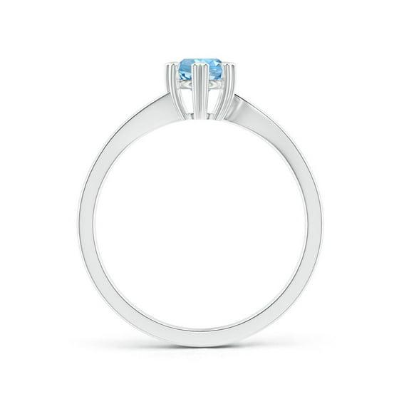 0fa5ae5e02742 March Birthstone Ring - Heart Prong-Set Round Aquamarine Solitaire Ring in  Silver (5mm Aquamarine) - SR1197AQ-SL-AAAA-5-10
