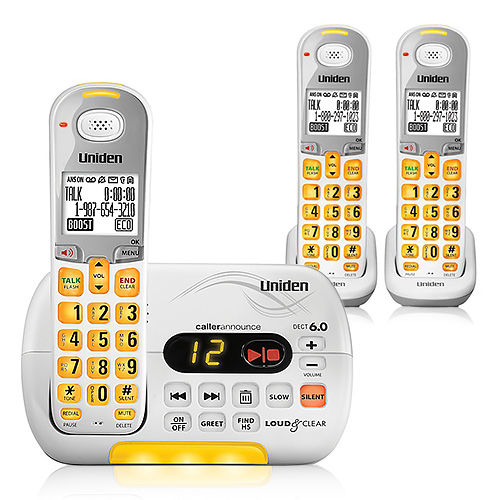 Refurbished Uniden D3097-3 Amplified Cordless Phone w/ White LCD & 2 Additional Handsets