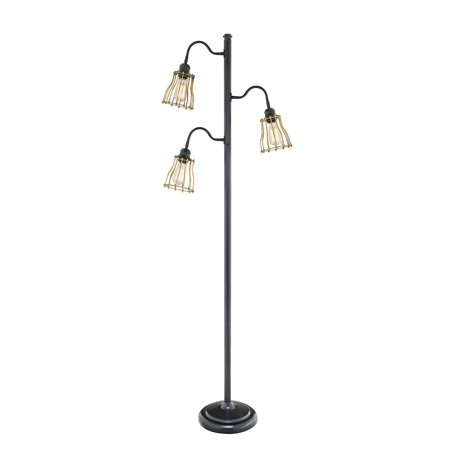 Catalina 19141 000 3 Way 69 Inch Light Track Tree Floor Lamp With Metal Open Cage Shades