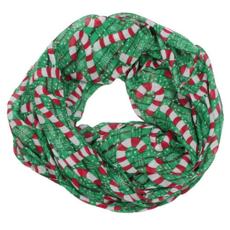David and Young Women's Holiday Candy Cane Infinity Loop Scarf, - Candy Cane Scarf