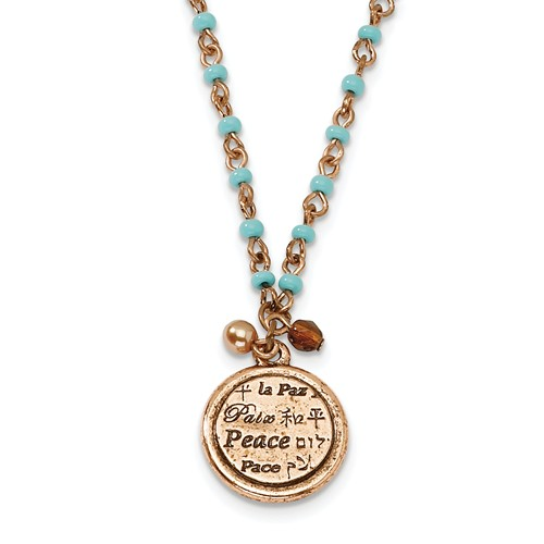 Copper-tone Aqua Beads Peace Pendant 16in with Ext Necklace