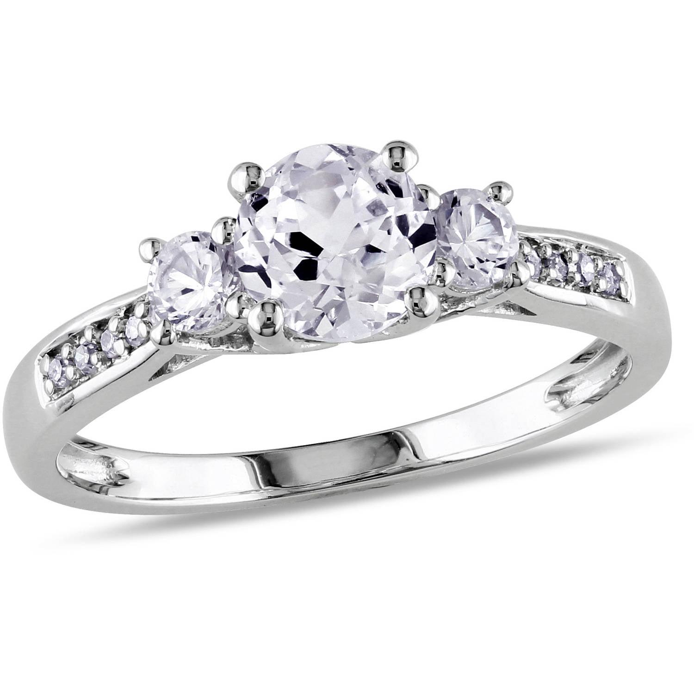 3 Carat Tgw Created White Sapphire And Diamondaccent 10kt  White Gold Three Stone Engagement Ring  Walmart