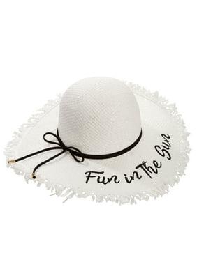 Product Image Time and Tru Women s Fun in the Sun Raw Edge Floppy Hat b2ca8b0fcf73