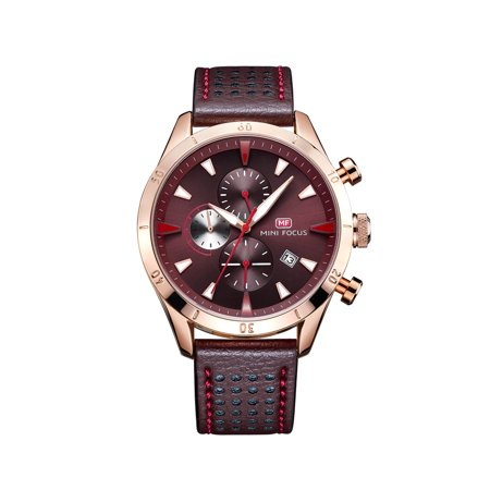 Mens Quartz Watch Brown Dial Leather Strap Calendar Window Design Date for Friends Lovers Best Holiday Gift