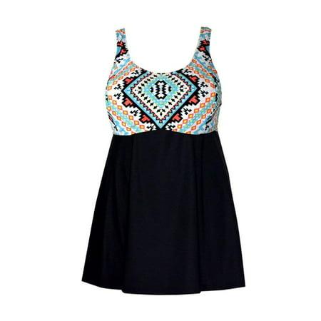 6e9c64273d3 PZZ Beach - PZZ Beach NEW Black Women's Size 3X Plus Geo Print Swimwear  Swimdress - Walmart.com